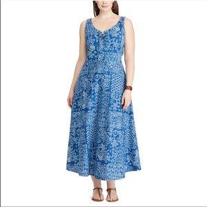 Chaps Denim Patchwork Fit & Flare Maxi Dress